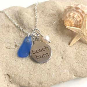 Sea Glass And Freshwater Pearl Charm Necklace